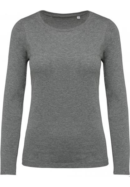 T-shirt donna cotone BIO KARIBAN maniche lunghe, girocollo